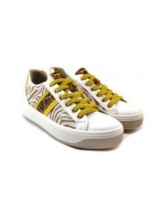 igi&co 7156300 bianco giallo 0 scarpe donna pelle fondo gomma zeppa 3 5 cm plateau 3 cm