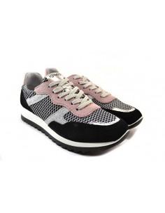 igi&co 7150011 nero rosa 0 scarpe donna pelle e tesuto fondo gomma zeppa 3 cm plateau 1 5 cm