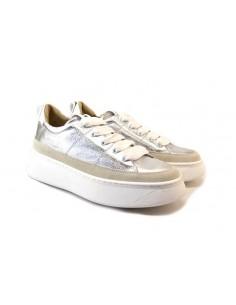 janet & janet 1050 argento 0 scarpe donna pelle fondo gomma zeppa 4 5 cm plateau 3 cm